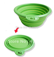 Wholesale Pink Orange Green Newest Design environmental protection silicone folding dog go out the essential portable pet bowl
