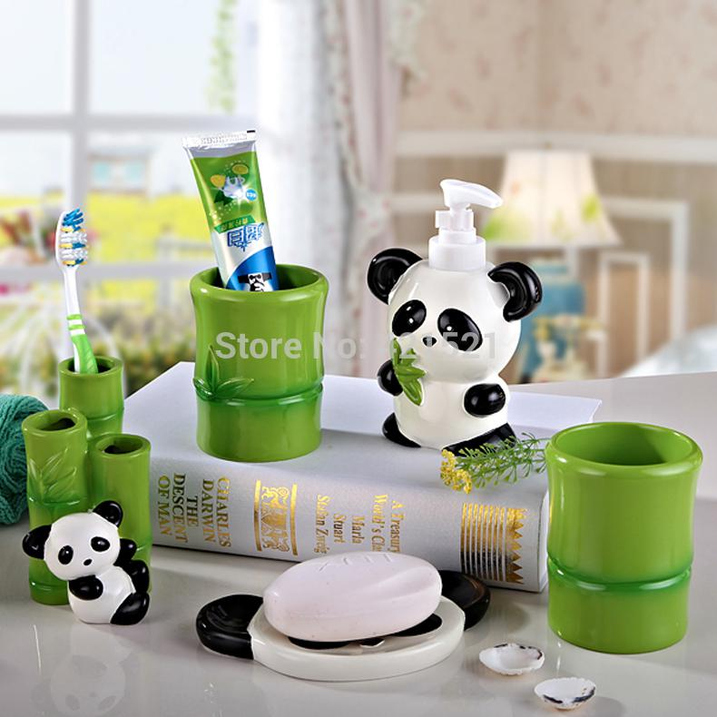 Panda Resin Five Pieces Bath Set Bathroom Set Bathroom Accessories Creative Wedding House Moving Gift Accessories 2000 Gift Car Accessories Accessories