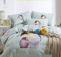 Wholesale 100 Cotton Lovely kitten The penguin The designer Hand painted design Duvet Quilt covers Queen pc BEDDING set