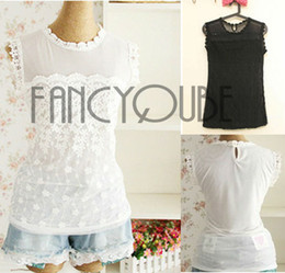 Fashion Womens Vintage Crew Neck Sleeveless Tight Mesh Top Crew Neck Floral Lace Chiffon Blouses Sexy Casual Shirts WF-351069
