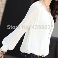 Wholesale 2015 new fashion women sexy Chiffon blouses Puff long sleeve Lace shirts loose O neck casual tops plus size S XXXL