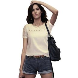 White Lace Blouse Slim Chiffon Shirt Womans Top Summer Blusas New