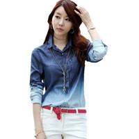 gradient denim shirt - TC Jeans blue womens blouses spring autumn long sleeve gradient casual denim shirt blouses tops blusas femininas clothing