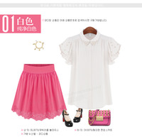 auger s - New Arrival summer fashion women s Lotus leaf sleeve Collar Set auger chiffon shirt Tops size S XL