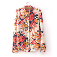 Wholesale 2015 Plus Size Woman Blouse Long Sleeve Print Floral Chiffon Shirt Autumn Blue Women Clothing Blusas LL1334