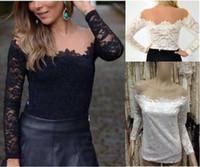 Cheap White Black Lace Chiffon Patchwork Crochet Blouses blusas femininas 2015 camisas women clothing body Sexy Slim blusa de renda
