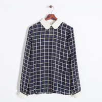 Cheap Women brief preppy style chiffon plaid blouse cream peter pan collar full sleeve cute S-XL top 310628