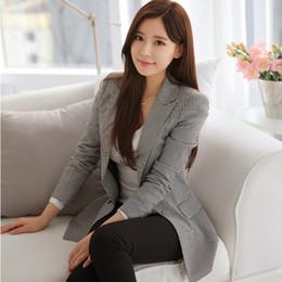 Wholesale Las nuevas mujeres chaquetas de invierno de algodón de lino delgado pequeño traje y largas secciones de pata de gallo a cuadros del diseño de marca chaquetas femeninas