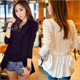 Spring Ladies Casual Blazer Black and White Chiffon Patchwork Middle Long Fashion Sheer Blazers Wear WWX115