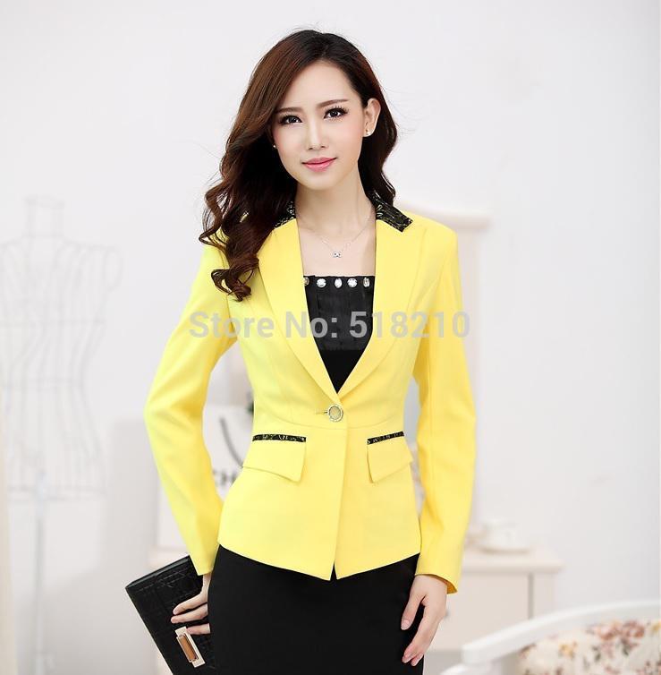 2017 new elegant yellow formal uniform design fall winter