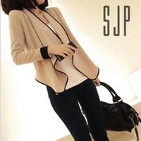 Wholesale Women Stylish Slim Lapel Irregular Hem Shawl Long Sleeve Shirt Coat Blazer