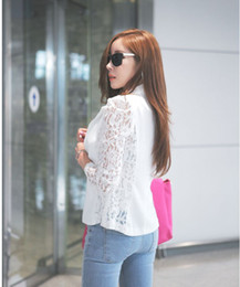 2015 New Winter Women Slim Lace Blazer Coat Casual Jackets Long Sleeve V-Neck Black White One Button Suit OL Outerwear