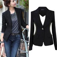 Cheap 2015 Spring Autumn Women Slim Black Office Suit Jacket Ladies One Button Formal Business Blazer Casual Jackets Size S-3XL YT1367