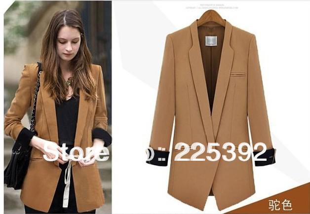 Women Fashion Celebrity Light Tan Color Suit Blazer, Lady Notched ...