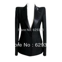 Cheap Winter Fashion Office Black Blazer Women long sleeve slim Skirt Suit women Business Suits jacket Black Plus size S-XXXXL