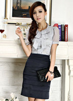 Wholesale Newest Elegant Spring Summer Short Sleeve Formal Suits For Office Lady Business Work Wear Sets Shirt Skirt Plus Size XXXL
