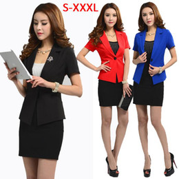 Wholesale 2015 Summer Blazer Skirt Suits Work Wear Fashion OL Women s Beauty Services Suit Set Female Ladies Formal Office Business Wear