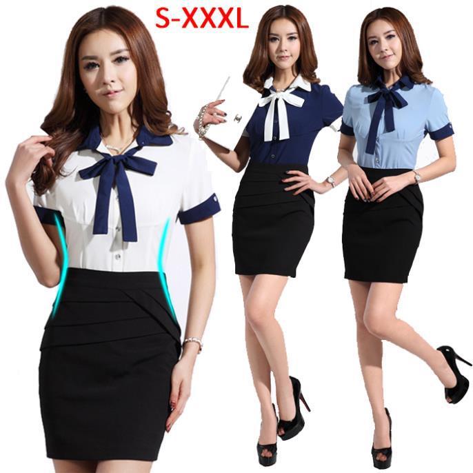 2015 Summer Work Wear Women Slim OL Formal Shirt Work Wear Skirt ...