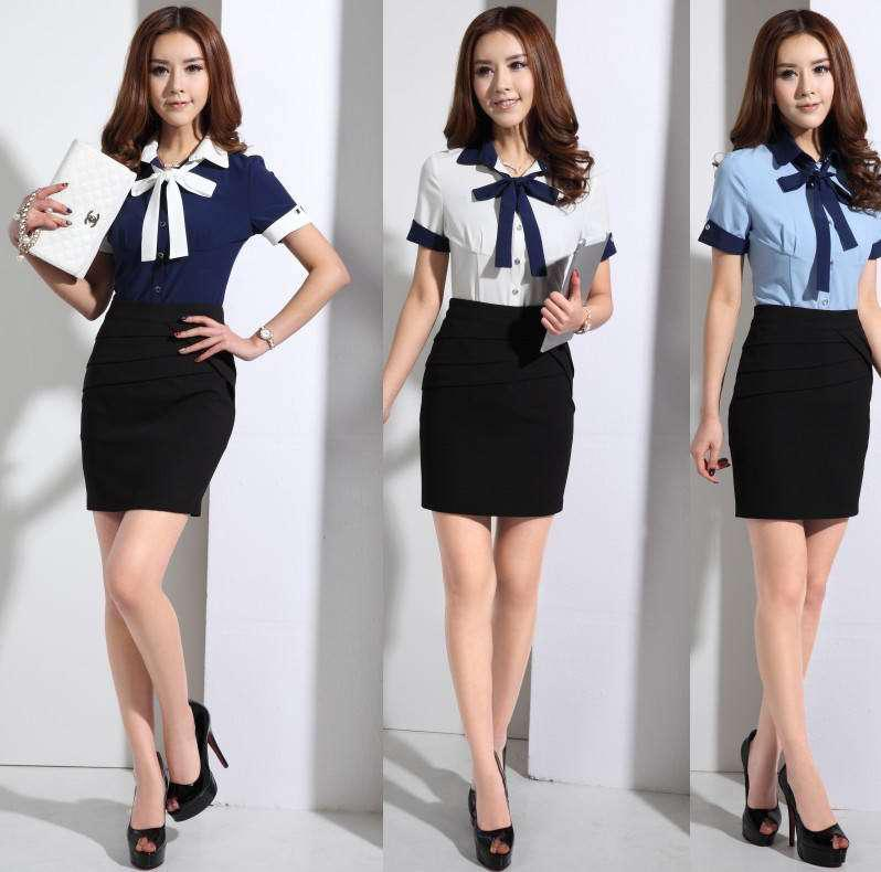2015 Summer Work Wear Women Slim OL Formal Shirt Work Wear Skirt ...