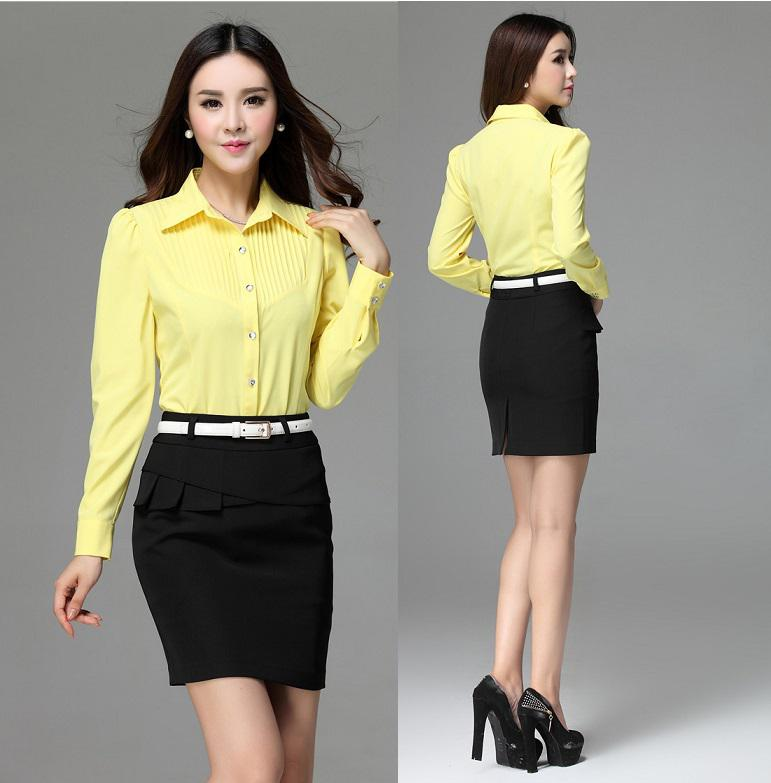 2017 Plus Size Elegant Yellow Formal Work Wear Suits Blouse And ...