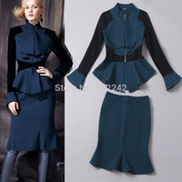 Cheap 2015 Spring Autumn New Women Elegant Black Blue Skirt Suit Suits Sets Ruffles Official Business Work Formal Free Shipping hsf