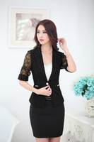 Cheap 2015 New Summer Elegant Black Formal Uniform Style Female Office Suits With Jackets And Skirt Business Women Blazers Set Outfits