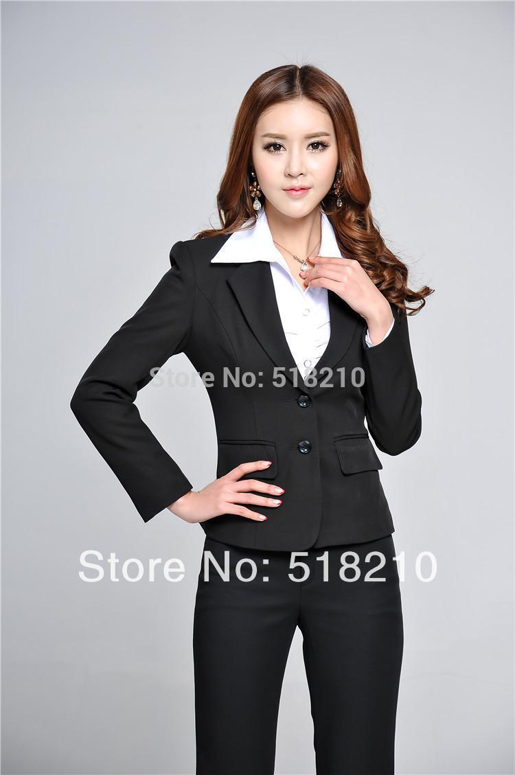 Discount Elegant Black Pants Suits For Women | 2017 Elegant Black