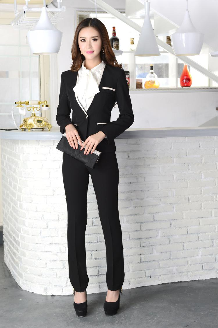 2017 Office Ladies Beige / Black Pants Suits Hot Autumn Winter ...