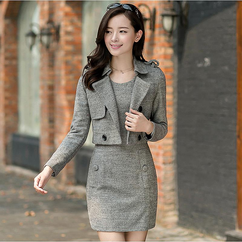 2017 2015 Spring Women Dress Suits Conjunto Short E Blazer Lady ...