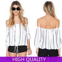 Wholesale Blusas Femininas Women Blouse Off Shoulder Striped Shirt Women Casual Blusas Plus Size High Quality Chiffon Tops