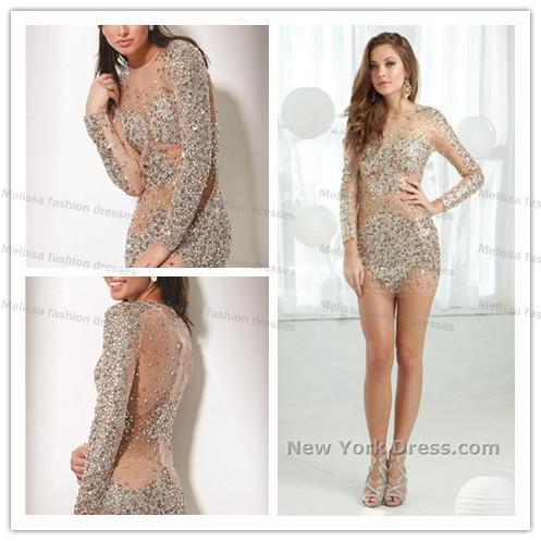 Sexy See Through Sheer Fabric Heavy Sequins Long Sleeve Beaded Cocktail  Dresses New Fashion 2015 Fabric Dress Form Fabric Lanyard Dress Netting  Fabric ...