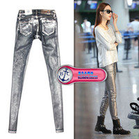 acid wash metal - free shiping womans Bfc silver metal painted punk skinny jeans elastic tight