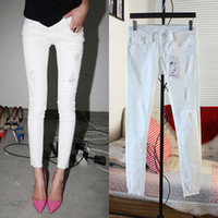 best seller jeans - 2015 new women s fashion skinny zipper fly girl s white color female women cotton pencil pants jeans Direct selling Best Sellers