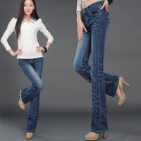 bell lifts - Elastic plus size slim butt lifting boot cut denim female bell bottom jeans women s trousers