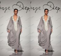 abaya in dubai - 2015 Grey Abaya Chiffon Sexy Beaded Crystal Abaya In Dubai Islamic Jalabiya Arabic Women Dress Islamic Moroccan Kaftan Muslim