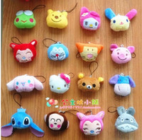 ali pendant - 30pcs mix Korean animal head pendant Ali KT cute cartoon mobile phone chain stitch Totoro plush doll