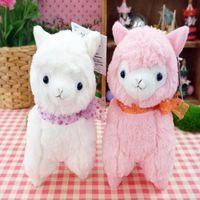 alpaca silk - 3pcs set Small Kawaii Alpacasso White Yellow Pink Colors Alpaca Plush Toy Sheep Stuffed Toy With Silk Scarves Christmas Gift