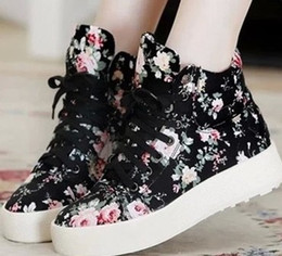 new fashion women platform canvas sneakers floral print ankle boots shoes summer shoes 5A104