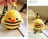 bee keychain - Kawaii Size CM SAN X Yellow Chicken Change INTO Honey BEE Keychain DOLL TOY Plush Stuffed TOY DOLL Wedding Bouquet TOY DOLL