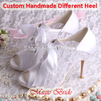 Wholesale White or Ivory Lace Bridal Wedding Shoes Women Ankle Boots Peep Toes with Lace UP Free Dropshipping