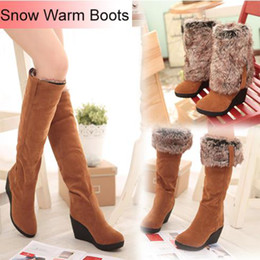 2015 Women Warm Snow Boots Winter Shoes Wedges High Folding High Heels Draw Thermal Winter Boots Female Knee High Boots
