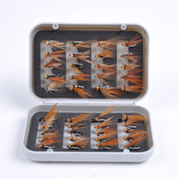 Wholesale 40pcs Carbon Steel Dry Fly Flies Hooks Feather Baits Trout Salmon Fishing Lure Set with Fishing Tackle Box Green Black