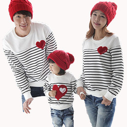 Wholesale-2015 fashion new Autumn Winter family clothing sets for mother daughter  father and child stripe T-shirt clothes