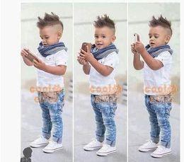Wholesale-2015 European pop Children boys summer set denim jeans +shirt +scarf 3 pcs set children Cloth Kids Clothing children cloth set