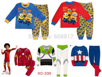baby sleepwear sale - Retail set Children s Cartoon Despicable Me minions pajamas Boys Girls Pyjamas sleepwear Kids Supernova sale Baby clothing