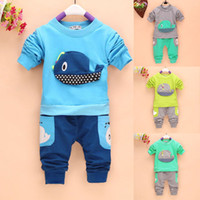 Cheap Wholesale-new 2015 spring fashion 2PCs Toddlers Baby Long Sleeve Tops+long Pants Outfits Boys Whale Costume