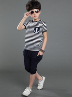 baby marine clothing - Kids Clothes Sets T years Marine Striped Short Sleeve Baby Boys Summer Clothing Set T shirts Pants Suits