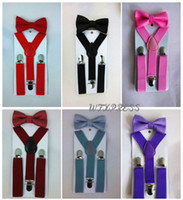 Cheap Suspender and Bow Tie Sets Matching Colors for Boys Girls Kids Free Shipping