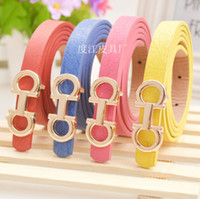 beaded leather belts - 2015 New brand hot designer kids PU leather belts children fashion letters buckle belt girls Leisure strap high quality colors