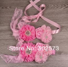 2pcs Set Pink Baby Girl Sash and Matching Headband Photography Props 8 set Lot QueenBaby